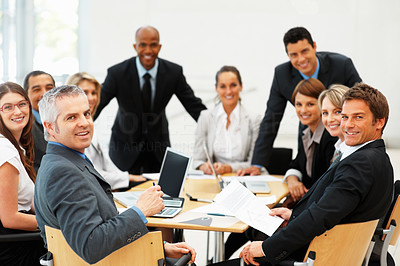 Buy stock photo Executives having a meeting indoors