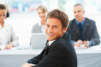 Buy stock photo Portrait of middle aged businessman smiling during interview