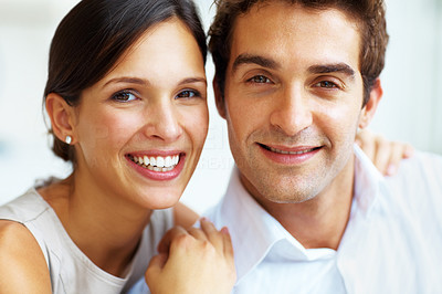 Buy stock photo Closeup portrait of lovely young couple together smiling