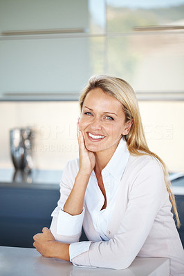 Buy stock photo Portrait of a charming young woman sitting relax at office