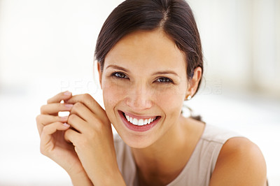 Buy stock photo Closeup portrait of gorgeous young female smiling confidently