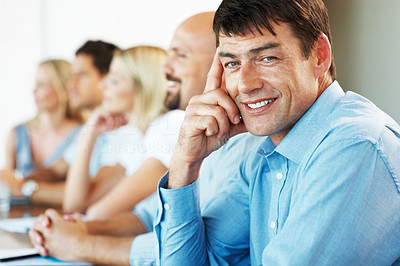 Buy stock photo Team of a successful business people in a meeting at office