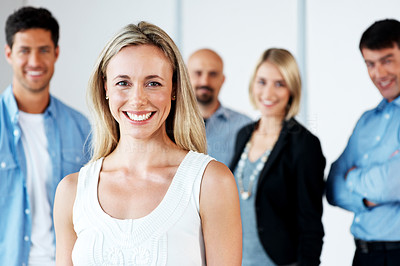 Buy stock photo Portriat of happy young lady standing with  her business colleague - Team
