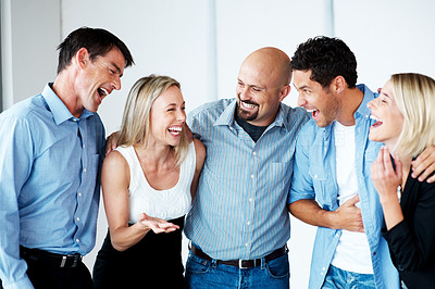 Buy stock photo Portrait of successful business people standing together in office - Business team