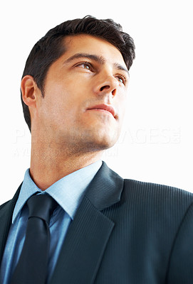 Buy stock photo Low angle view of handsome man looking off into distance