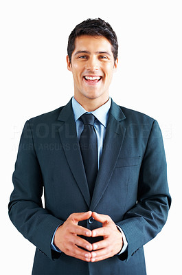 Buy stock photo Happy businessman standing on white background