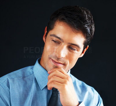 Buy stock photo Closeup of executive with hand on chin, looking to side