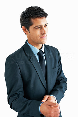 Buy stock photo View of businessman looking into distances