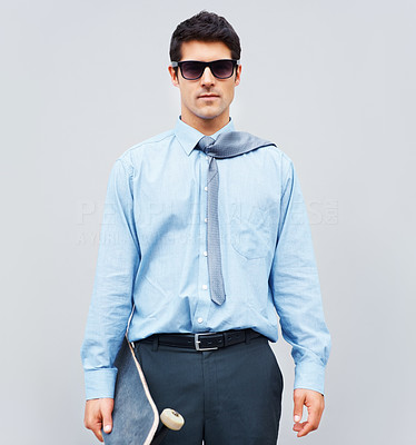 Buy stock photo Businessman wearing sunglasses and holding skateboard
