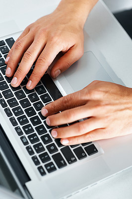 Buy stock photo Top view of man typing on laptop