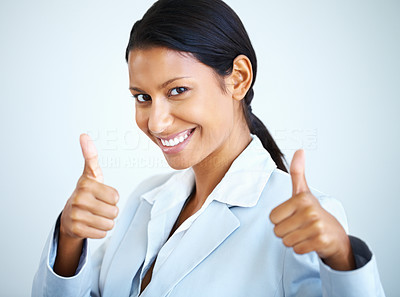 Buy stock photo Business woman smiling while giving thumbs up