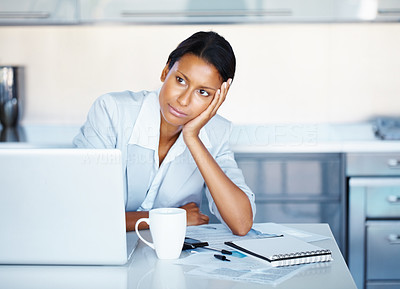 Buy stock photo Business woman at desk with hand on face, looking into distance