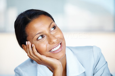Buy stock photo Business woman resting face on hand and looking up
