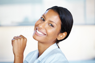 Buy stock photo Closeup of pretty woman smiling and tilting head back