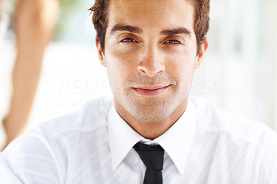 Buy stock photo Closeup portrait of smart young business man looking confident