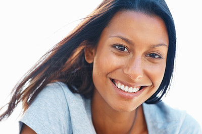 Buy stock photo Closeup of pretty woman smiling