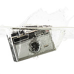 Vintage camera immersed in water