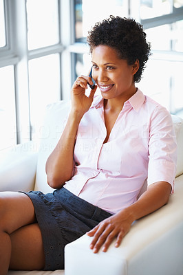 Buy stock photo Young business woman talking on cell phone