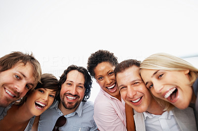 Buy stock photo Closeup portrait of successful business team laughing together
