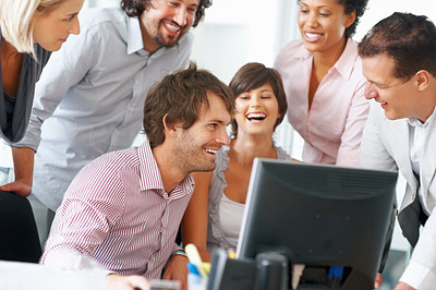 Buy stock photo Young professionals having friendly discussion
