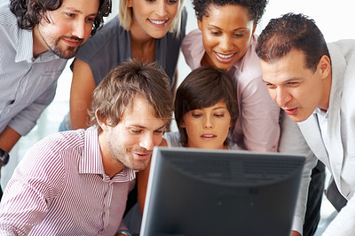 Buy stock photo Business people busy working on computer