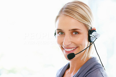 Buy stock photo Closeup of smiling business woman with headphones in office