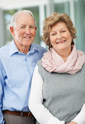 Buy stock photo Portrait of a senior couple taking a walk
