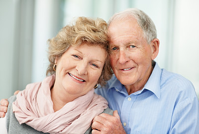 Buy stock photo Portrait of an affectionate couple