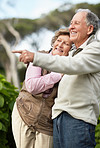 Mature man with senior woman pointing at something interesting