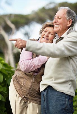 Buy stock photo Portrait of a happy mature man with senior woman pointing at something interesting
