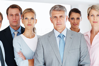 Buy stock photo Portrait of confident team of business professionals standing together at office
