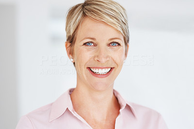 Buy stock photo Portrait of a beautiful young business woman smiling at office