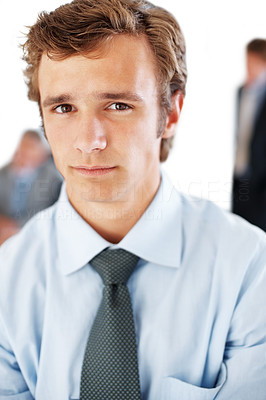 Buy stock photo Closeup portrait of a successful young businessman looking with an attitude
