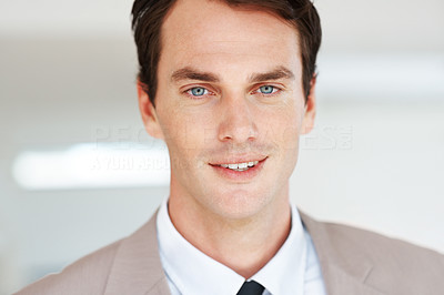 Buy stock photo Closeup portrait of an attractive young businessman in suit