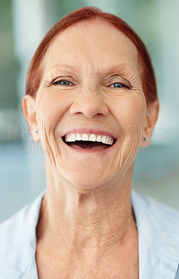Buy stock photo Closeup portrait of a happy senior brunette woman laughing
