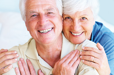 Buy stock photo Closeup portrait of senior couple smiling and looking at you