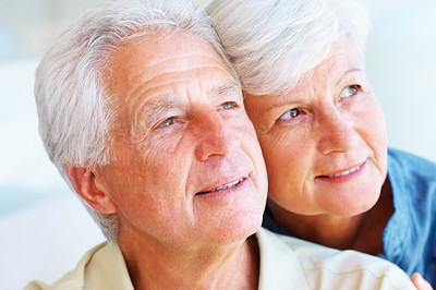 Buy stock photo Closeup of senior couple looking away and daydreaming