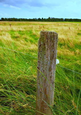A photo of a fence post