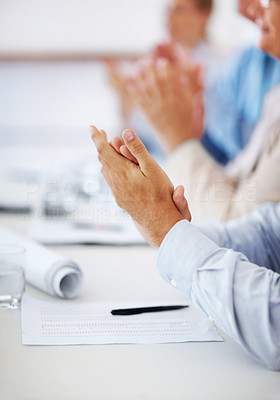 Buy stock photo Cropped image of business people clapping hands during meeting at office