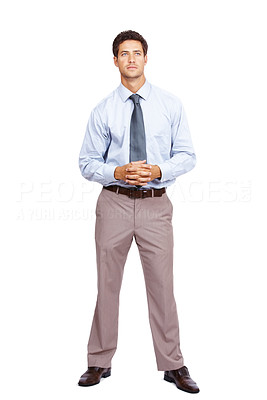 Buy stock photo Full length portrait of a thoughtful businessman standing white background and looking away