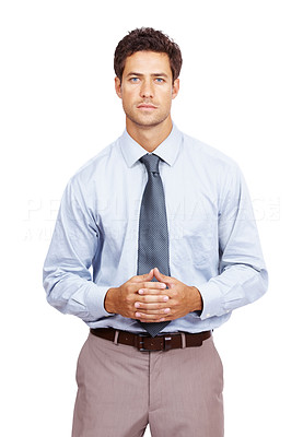 Buy stock photo Portrait of handsome young business executive standing isolated against white background
