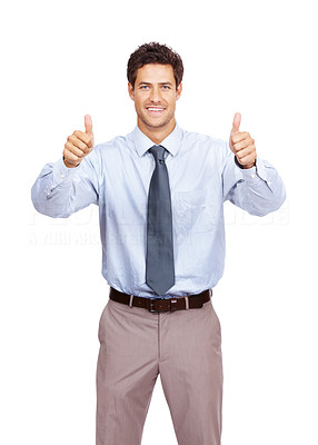 Buy stock photo Portrait of a happy young business man showing thumbs up sign over white background