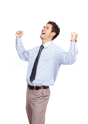 Buy stock photo Portrait of cheerful executive celebrating success with his arms raised and looking up against white background