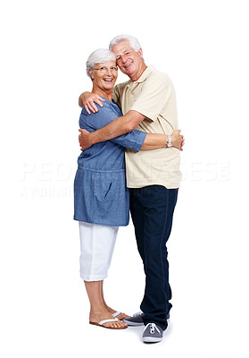 Buy stock photo Portrait of a happy old mature couple hugging eachother isolated over white background