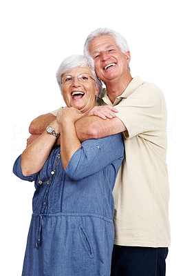 Buy stock photo Portrait of a happy old man hugging his wife from behind isolated against white background