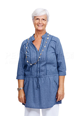 Buy stock photo Portrait of a lovely casual old woman standing and smiling isolated against white background
