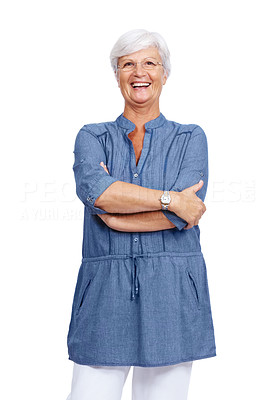 Buy stock photo Portrait of a happy old lady standing with folded hands against isolated white background