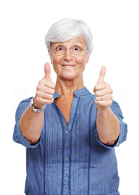 Buy stock photo Portrait of a funny old lady showing thumbs up sign with both hands isolated over white background
