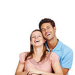 Portrait of young romantic couple smiling together