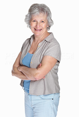 Buy stock photo Portrait of a happy mature woman with hands folded isolated against white background
